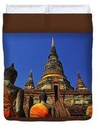 Wat Yai Chai Mongkol In Ayutthaya, Thailand Duvet Cover