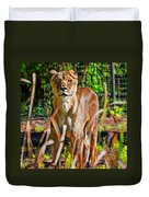 Watchful Lioness Duvet Cover