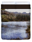 Water Body Surrounded By Greenery Duvet Cover