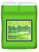 Water Color Of Apple Orchard Farm Duvet Cover