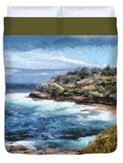 Water Cove With Rocky Cliffs Duvet Cover