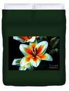 Water Droplet Covered White Lily  Duvet Cover