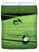 Water Droplet On A Leaf Duvet Cover
