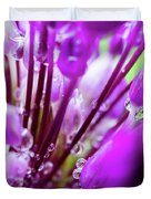 Water Droplets And Purple Flower Duvet Cover