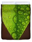 Water Droplets On Lemon Leaf Duvet Cover