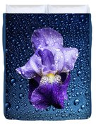Water Drops On Purple Iris Duvet Cover