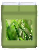 Water Drops On Spring Grass Duvet Cover
