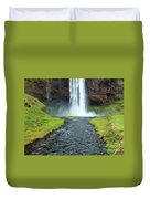 Water Falling In Iceland Duvet Cover