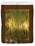 Water Grass In Sunset Duvet Cover