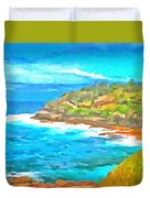 Water Gushing In On A Natural Cove Duvet Cover