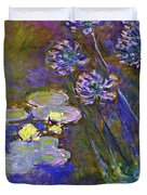 Water Lilies And Agapanthus 1917 Duvet Cover