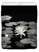 Water Lilies In Black And White Duvet Cover