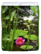 Water Lily In A Pond Duvet Cover