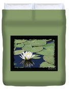 Water Lily With Black Border Duvet Cover