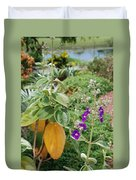 Water Plants And Flower Duvet Cover