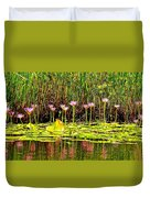 Water Reflecting Pinkish Waterlilies Duvet Cover