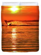 Water Skiing At Sunrise  Duvet Cover