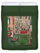 Water Taxi On Venice Side Canal Duvet Cover