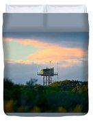 Water Tower In Orange Sunset Duvet Cover