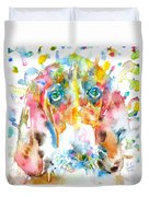 Watercolor Basset Hound Duvet Cover