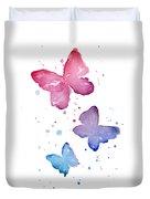 Watercolor Butterflies Duvet Cover