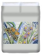 Watercolor - Checkerspot Butterfly With Wildflowers Duvet Cover by Cascade Colors