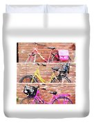 Watercolor Collage Of Three Bicycles In Triptych Duvet Cover