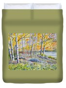 Watercolor - Colorado Autumn Forest And Landscape Duvet Cover
