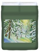 Watercolor - Colorado Winter Tranquility Duvet Cover