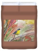 Watercolor - Common Yellowthroat Duvet Cover