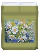 Watercolor - Daisies And Common Blue Butterflies Duvet Cover