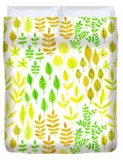 Watercolor Doodle Leaves Pattern White  Duvet Cover