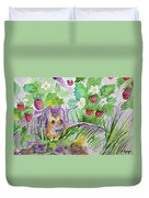 Watercolor - Field Mouse With Wild Strawberries Duvet Cover