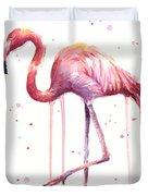 Watercolor Flamingo Duvet Cover