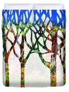 Watercolor Forest Silhouette Summer Duvet Cover