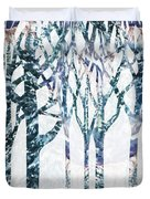 Watercolor Forest Silhouette Winter Duvet Cover