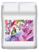 Watercolor - Frilled Coquette Hummingbird With Colorful Background Duvet Cover