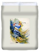 Watercolor  Golf Player Duvet Cover