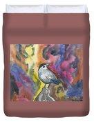 Watercolor - Gray Catbird Duvet Cover