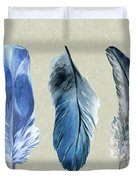Watercolor Hand Painted Feathers Duvet Cover