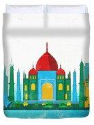 Watercolor Illustration Of Delhi Duvet Cover