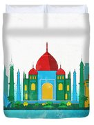 Watercolor Illustration Of Delhi Duvet Cover