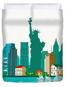 Watercolor Illustration Of New York Duvet Cover