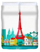 Watercolor Illustration Of Paris Duvet Cover