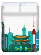 Watercolor Illustration Of Seoul Duvet Cover