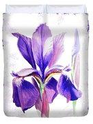 Watercolor Iris Painting Duvet Cover