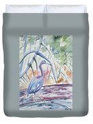 Watercolor - Little Blue Heron In Mangrove Forest Duvet Cover