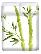 Bamboo Stick Wall Paper Art, Watercolor Living Room Decor Illustration, Green Bamboo Leaves Painting Duvet Cover