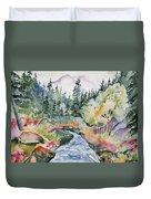 Watercolor - Long's Peak Autumn Landscape Duvet Cover