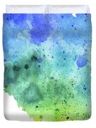 Watercolor Map Of Alberta, Canada In Blue And Green  Duvet Cover